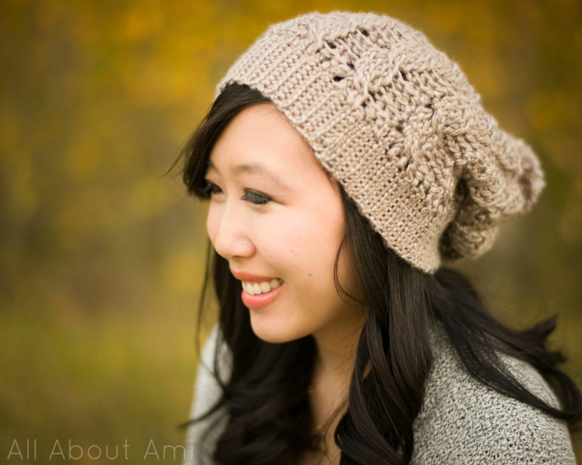 Free Crochet Hat Patterns For Adults Cabled Slouchy Beanie All About Ami