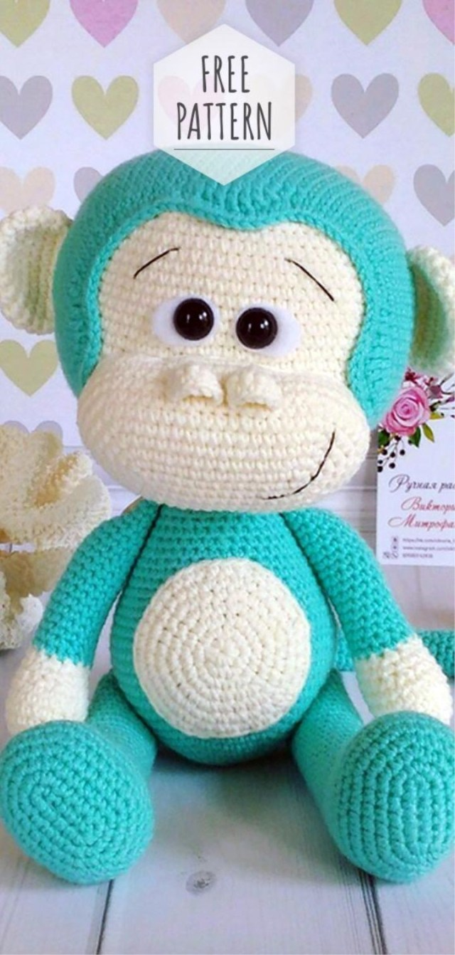Monkey baby rattle crochet pattern | Crochet monkey, Crochet ... | 1342x640