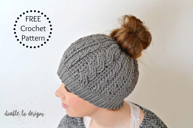 Free Hat Crochet Patterns Free Crochet Pattern Crochet Cabled Messy Bun Hat Adult Sizes