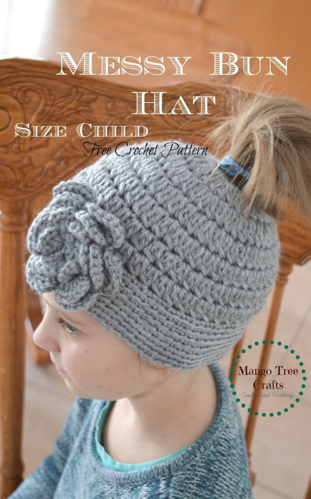 Free Hat Crochet Patterns Messy Bun Hat Free Crochet Pattern Size Child