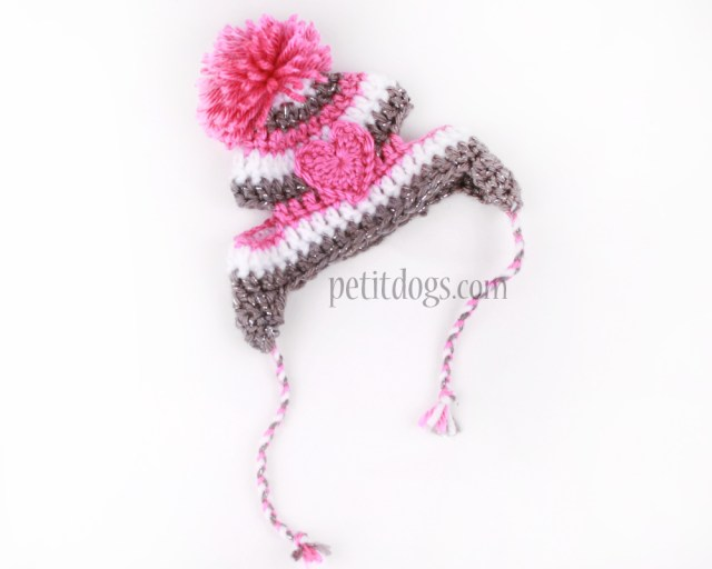 Puppy Dog Crochet Hat Pattern Crochet Winter Dog Hat Sparkle Grey And Pink Striped Heart Hat Pet