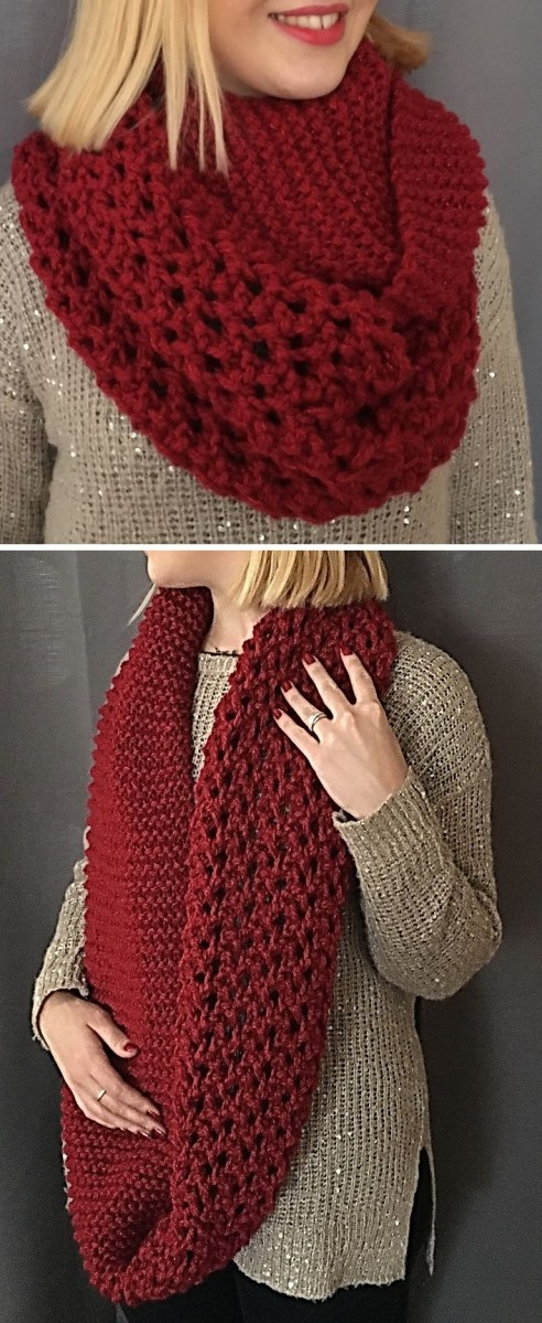 Snood Scarf Crochet Pattern Free Until Jan 7 2017 Only Knitting Pattern For Lily Red Snood