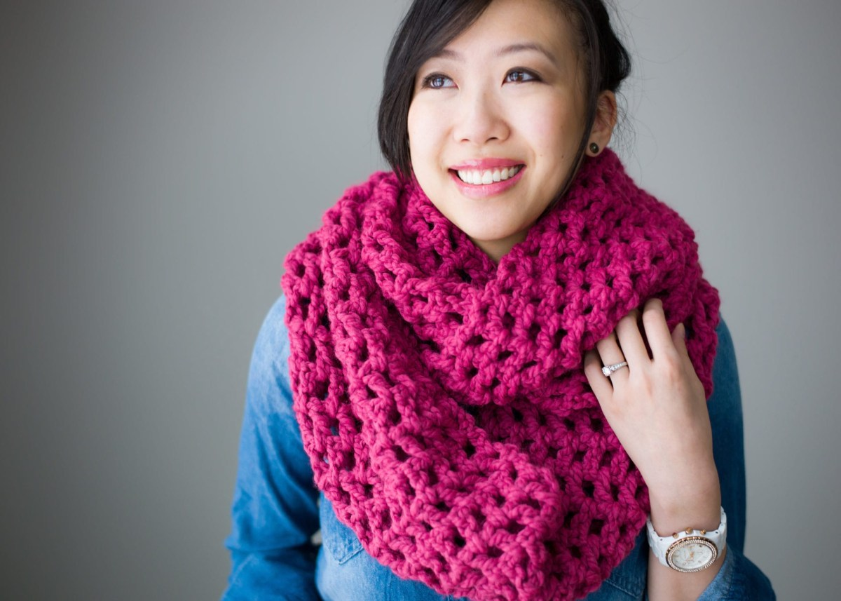 Snood Scarf Crochet Pattern Long Double Crochet Cowl All About Ami