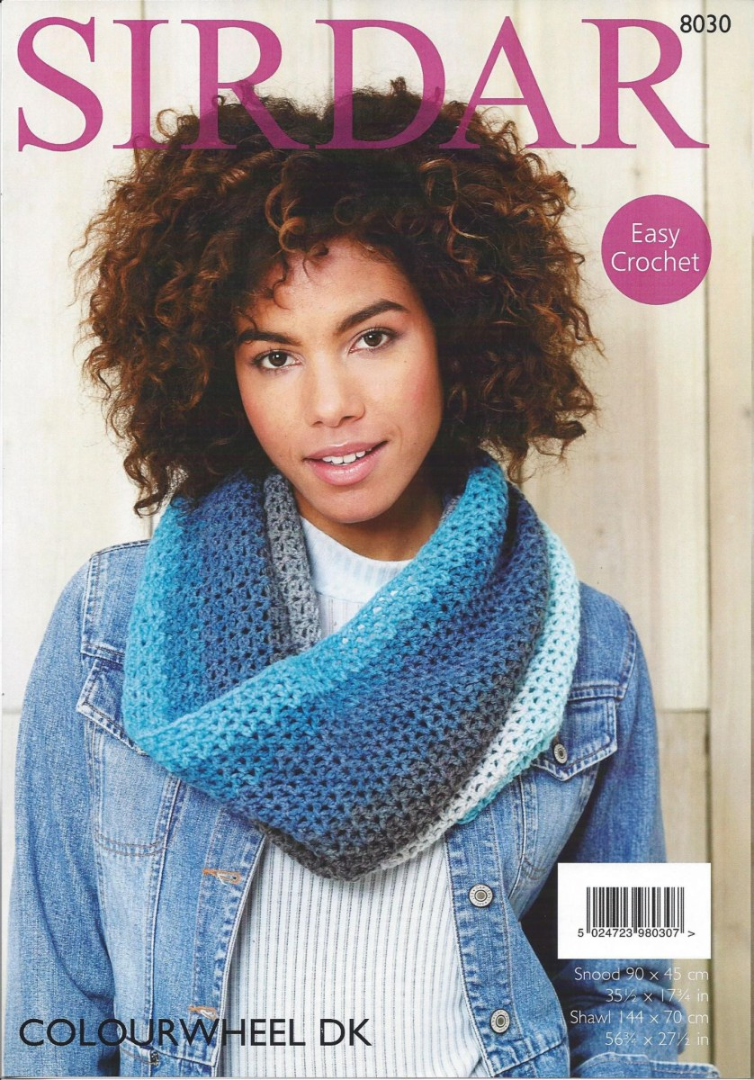 Snood Scarf Crochet Pattern Sirdar Colourwheel Dk 8030 Snood Shawl Crochet Pattern