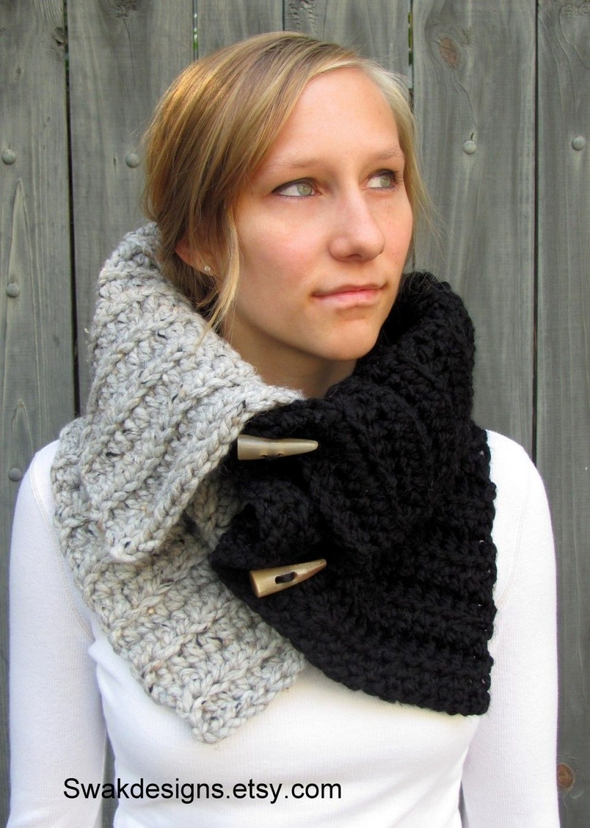 Snood Scarf Crochet Pattern Two Tone Snood Cowl Wrap With Hornshandmadechoose Your Colors