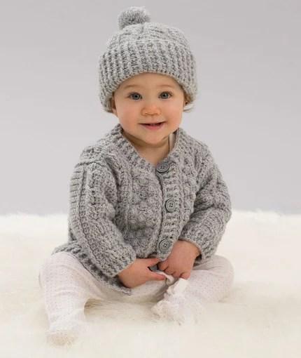 Aran Stitch Cardigan Amp Hat Free Crochet Pattern