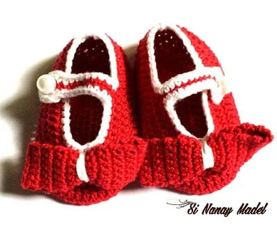 Red Ribbon Baby Shoes by Si Nanay Madel
