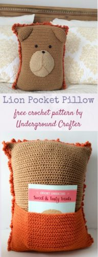 Lion Pocket Pillow by Marie Segares/Underground Crafter