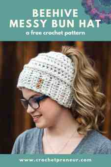 b25d34a4b79 Free Crochet Pattern  Phoneytail or Fun Bun Hat - Crochetpreneur