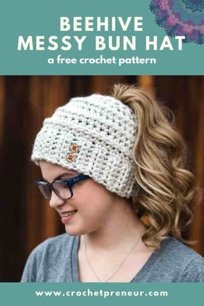 66ade9b116c Free Crochet Pattern for the Chelsea Beehive Messy Bun Hat from Made with