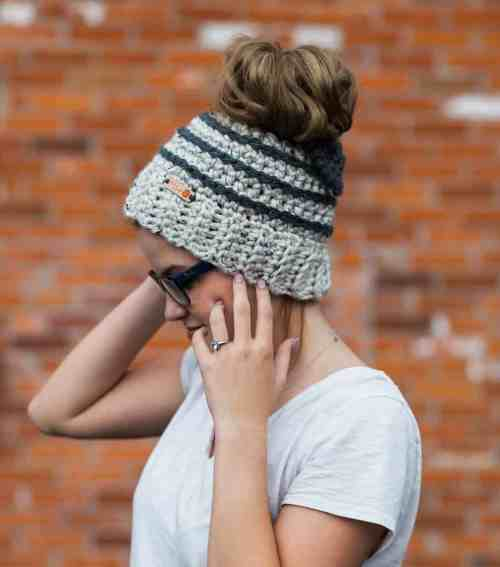 Chelsea Beehive Striped Messy Bun Beanie with Bow