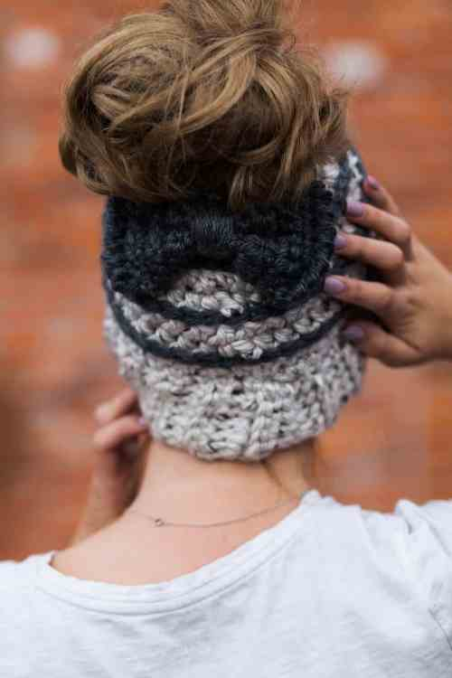 Striped Beehive Messy Bun Hat with Bow
