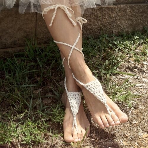 Photo of white Barefoot Sandals Crochet Pattern