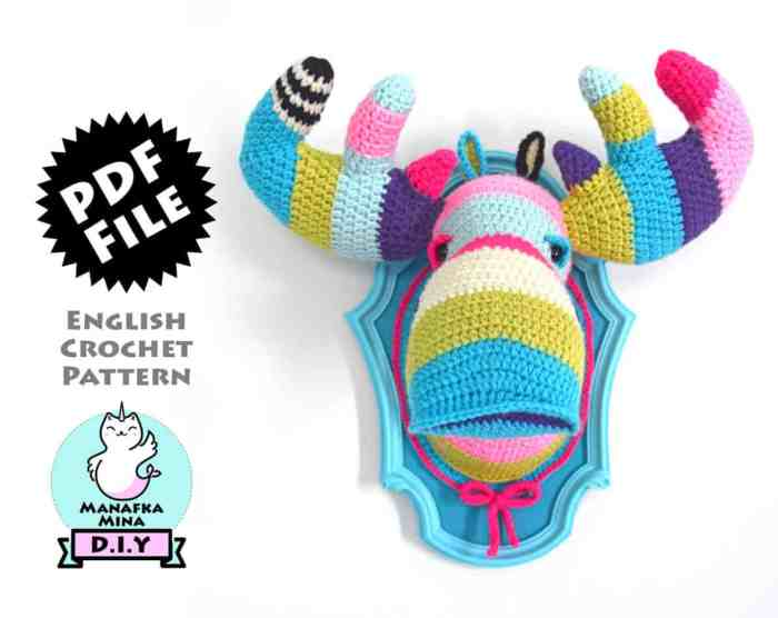 Photo of the crocheted colorful faux taxidermy moose head
