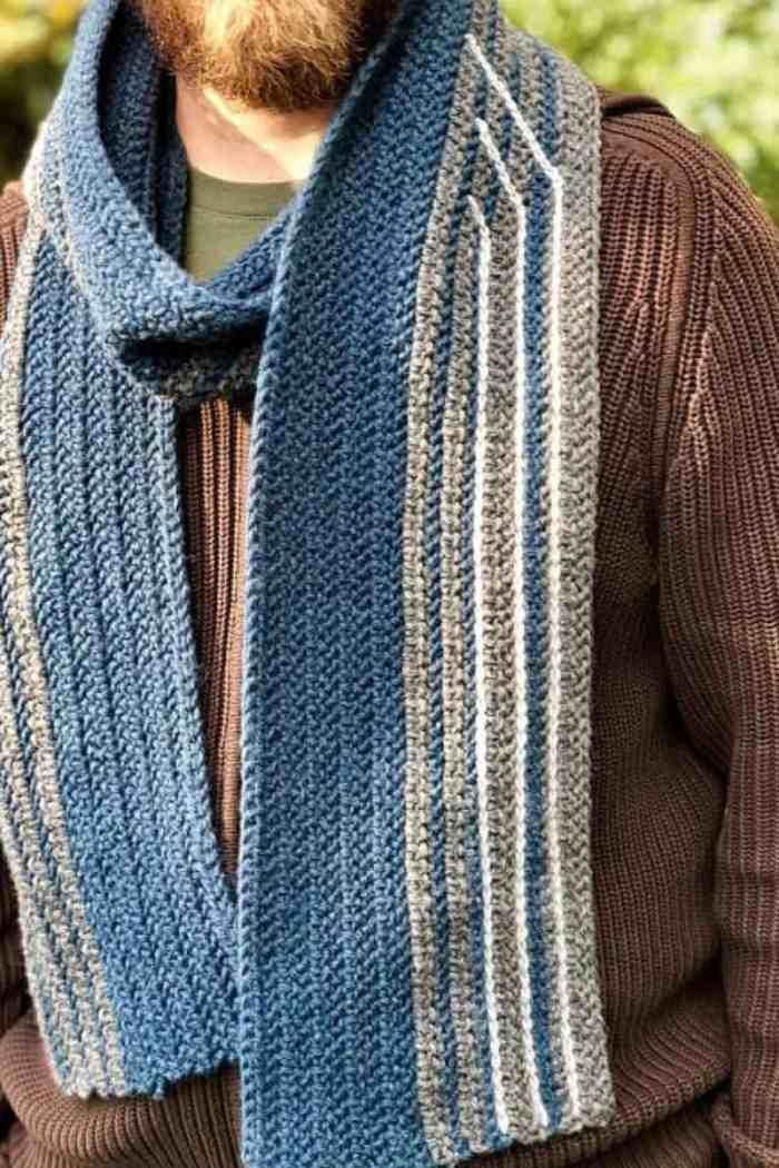 Mens Scarf Free Crochet Pattern 30 Days Of Cozy Crochetpreneur