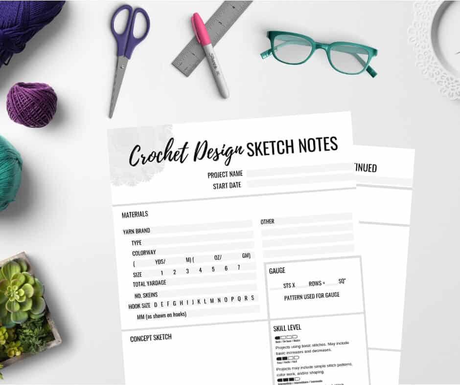 crochet design sketch-notes