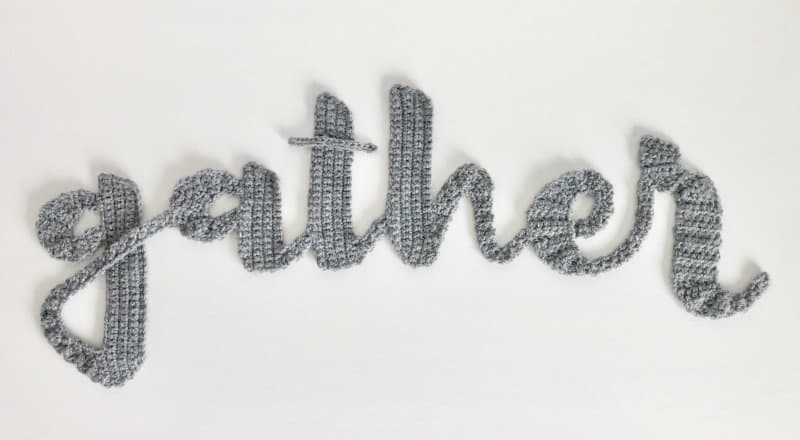 gather text with crocheted alphabet