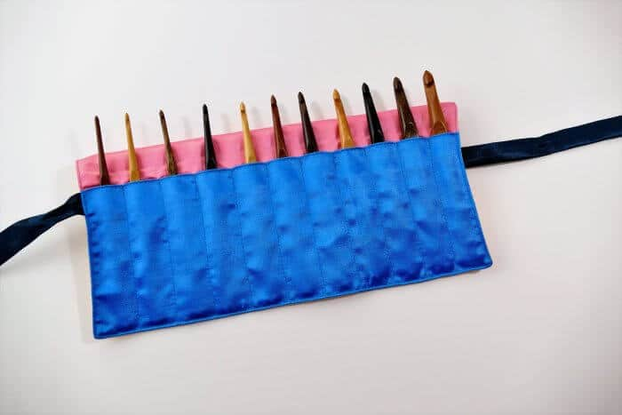 Set of Laurel Hill Wood Crochet Hooks in Silk Carrying Case