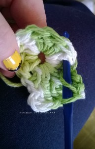 second round . between double stitch