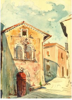 Casamento Brunetti, sec. XVII. Aquarello di S.E. Nob. Avv. Vittorio Manti, già Prefetto de L'Aquila (1950)