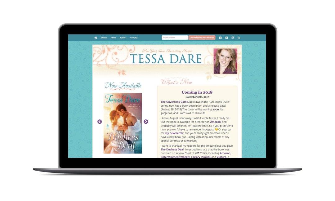 Screenshot: Tessa Dare Website