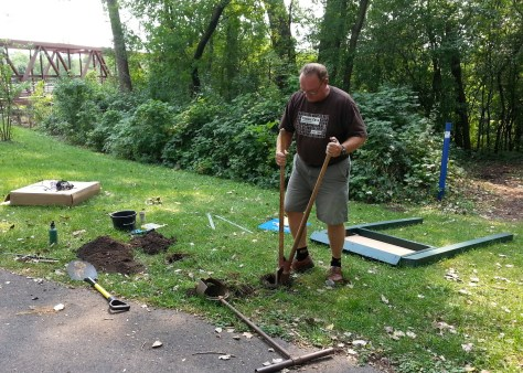 Bill Nelson installing the Sechler Park MTB trailhead kiosk, Northfield