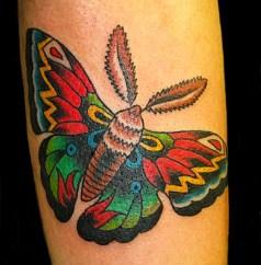 Old school moth on inside of forearm. 2013