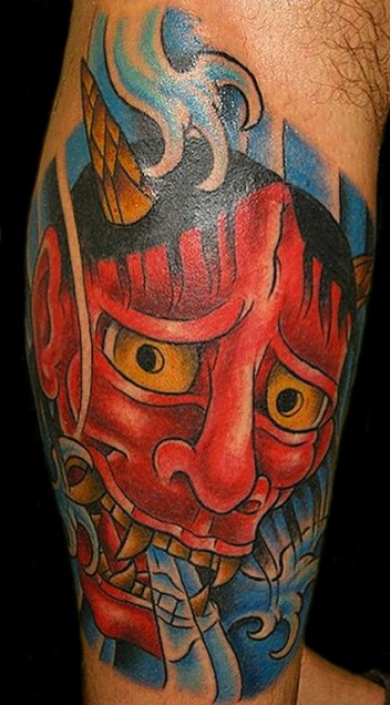 Hannya mask on Gabe. Outside calf. 2014