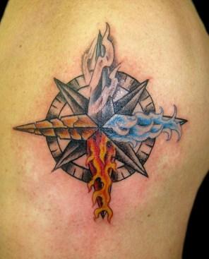 4 elements on compass. Shoulder. 2014