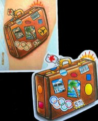 Suitcase for a frequent flyer on outside calf. 2010