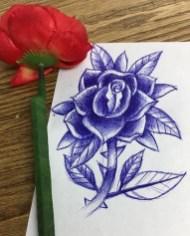 Rose sketch. Ballpoint pen on printer paper. 2017