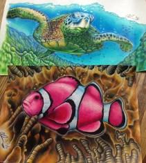 La Tortuga and Clownfish. Pencil crayon on printer paper. 2016-17
