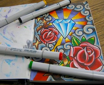 Roses and diamond. Copic in sketchbook. 2014