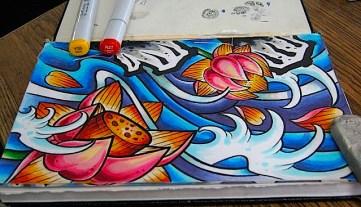 Lotus in the waves. Copic in sketchbook. 2014