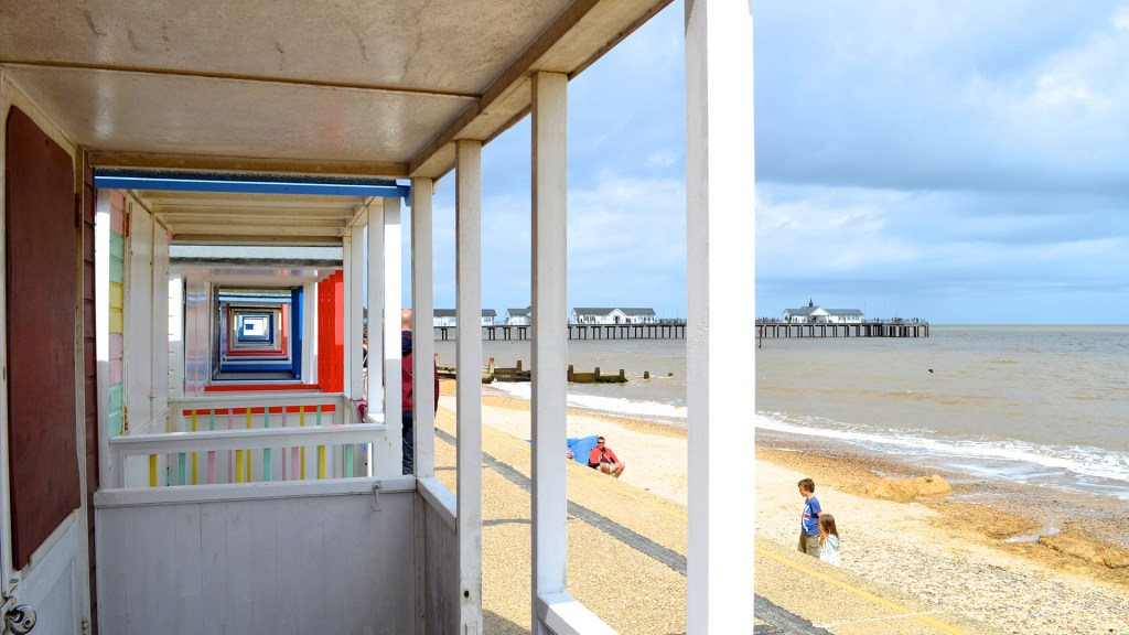 Beach huts on the seafront in Southwold