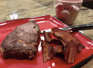 Ribeye steak and bacon - zero carb