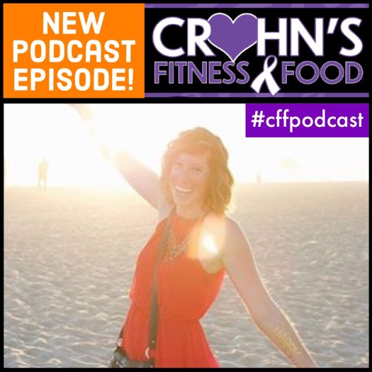 Photo of Mylissa Merton on the cover graphic for the Crohn's Fitness Food podcast