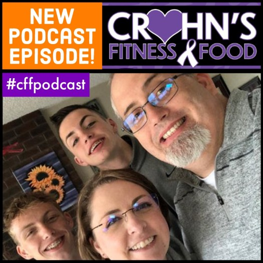 Photo of Logan Crumrine with his wife and two kids for the cover of the Crohn's Fitness Food podcast
