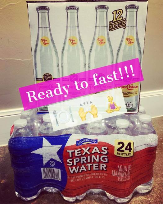 Picture of water bottles and Topo Chico to begin a fast