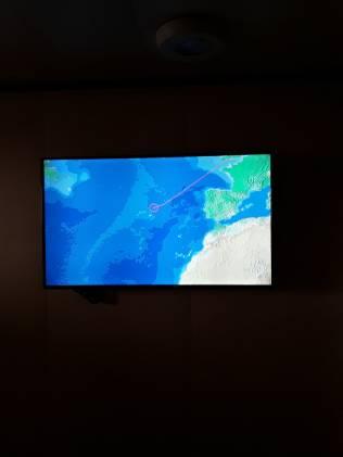 La position du bateau sur l'écran de la télévision de la cabine 2