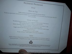 Menu SPA du restaurant du Queen Victoria