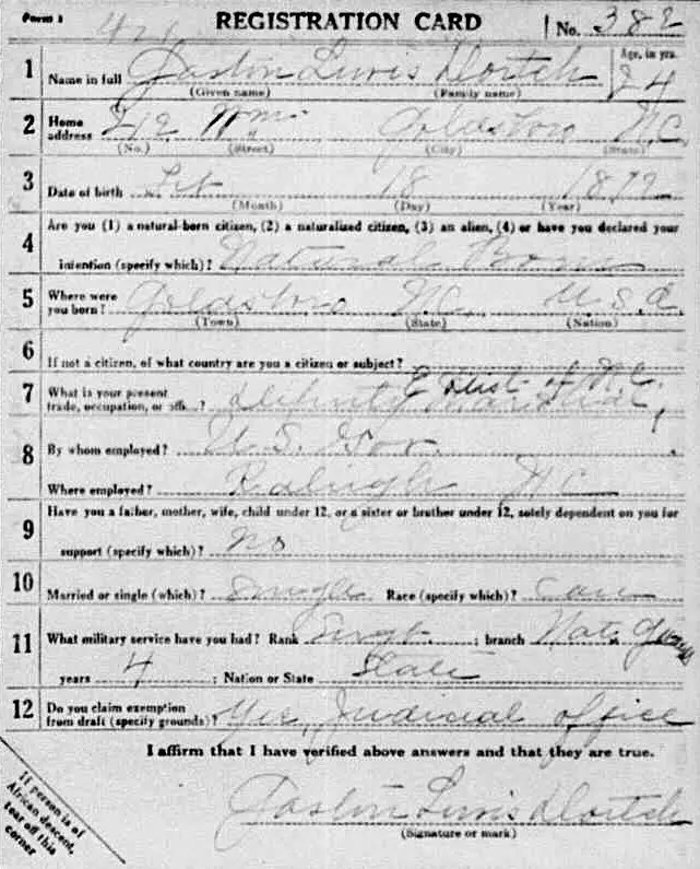 Gaston Dortch, WWI registration card
