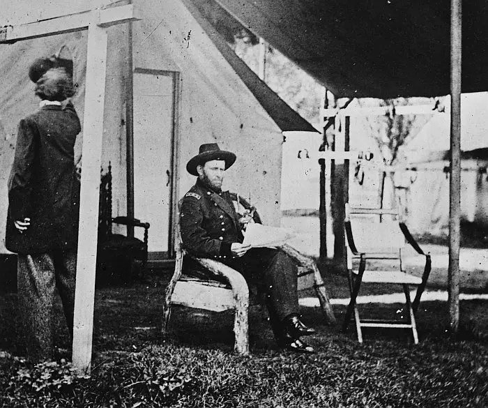 Ulysses S. Grant seated at his headquarters, Cold Harbor