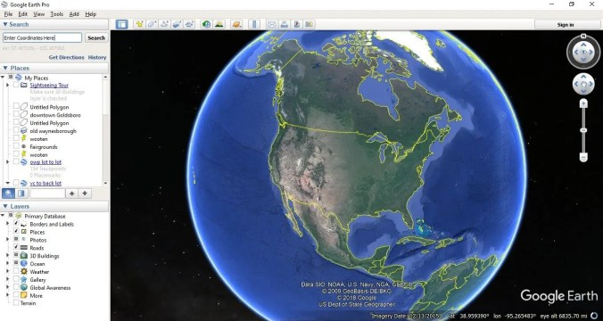 google earth - main screen