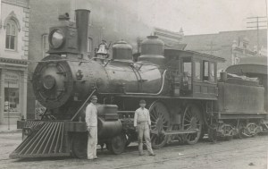 Southern Railway steam engine on Center street, about 1900.