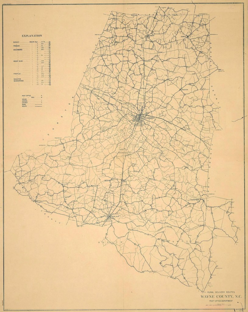 1920 Wayne County rural mail delivery routes map