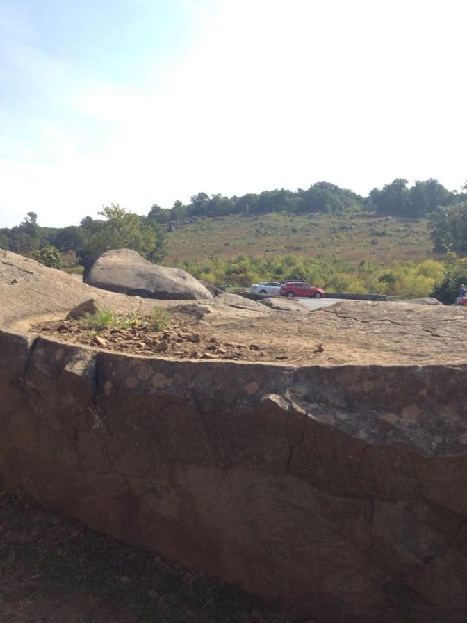 View from a natural trench in the Devil's Den rock formation at Gettysburg