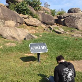 Initial view of the Den boulders in Gettysburg
