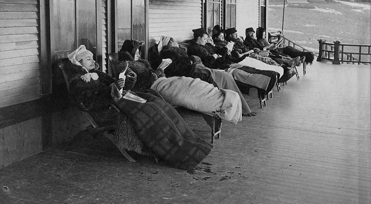 Tuberculosis patients on a cure porch