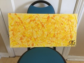 Abstract acrylic 51 cm x 25 cm Signed Ilka Oliva Corado Selling $80